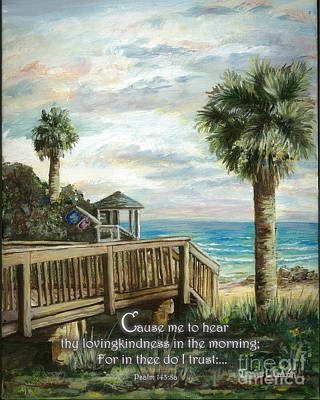Digital Art - Boardwalk With Lifeguard Psalm 143 by Janis Lee Colon