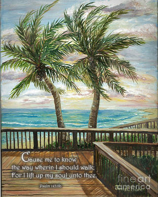 Digital Art - Boardwalk With Two Palms Psalm 143 by Janis Lee Colon
