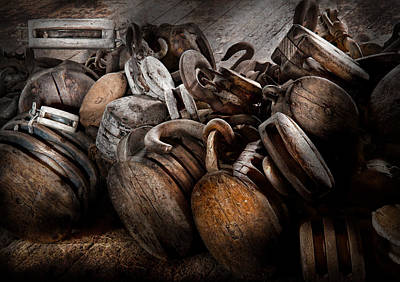 Sea Captain Photograph - Boat - Block And Tackle  by Mike Savad