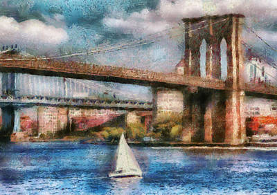 Boat - Ny - Sailing Under The Brooklyn Bridge Art Print by Mike Savad