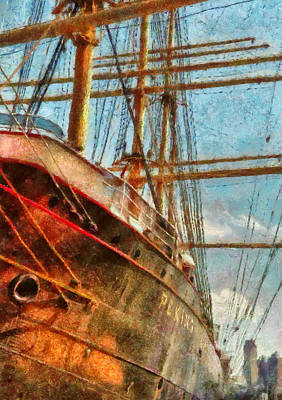South Street Seaport Photograph - Boat - Ny - South Street Seaport - Peking by Mike Savad