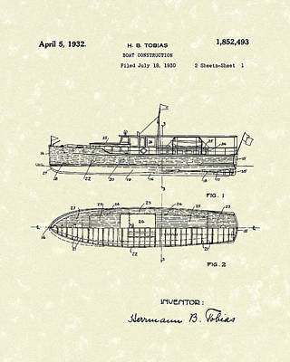 Boat Drawing - Boat 1932 Patent Art by Prior Art Design
