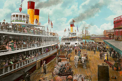 White Steamer Photograph - Boat - A Vacation To Remember - 1901 by Mike Savad