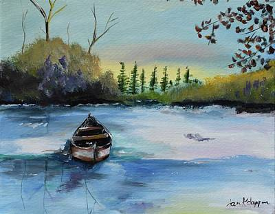 Painting - Boat Abandoned On The Lake by Jan Dappen