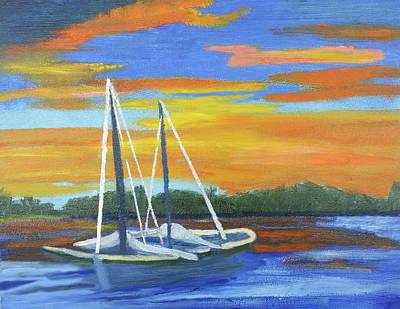 Boat Adrift Art Print by Margaret Harmon
