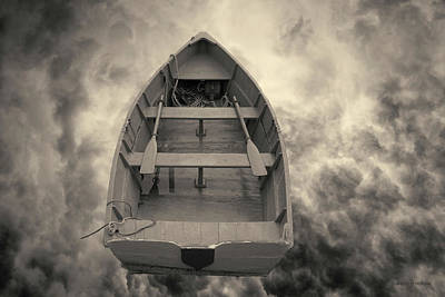 Montage Photograph - Boat And Clouds Toned by David Gordon