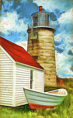 Digital Art - Boat And Lighthouse, Monhegan, Maine by Dave Higgins