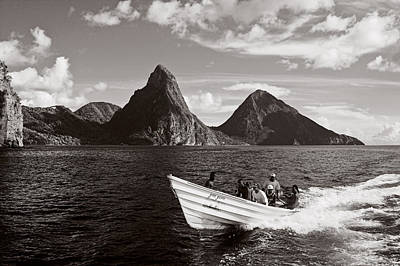 Boat And Pitons-st Lucia Art Print