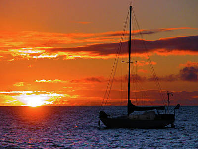 Photograph - Boat And Sunset  by Harry Spitz