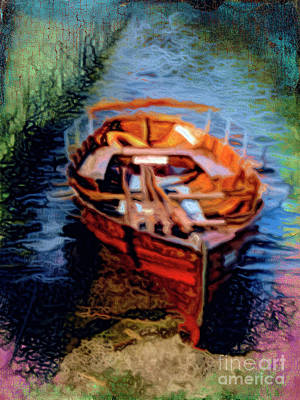 Oars Mixed Media - Boat Ashore by Gillian Singleton