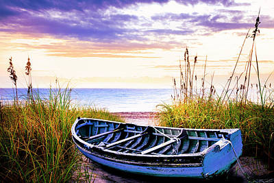 Photograph - Boat At Dawn In Soft Golds And Lavender by Debra and Dave Vanderlaan