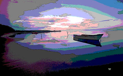 Sun Rays Mixed Media - Boat At Night by Charles Shoup