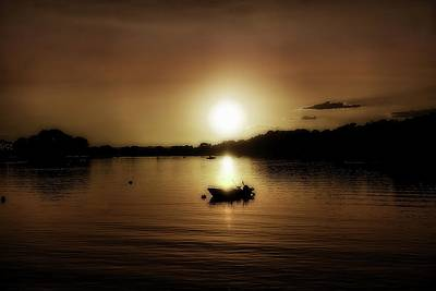 Photograph - Boat At Sunset Glow - Sepia  by Lilia D