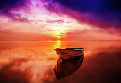 Rowboat Digital Art - Boat At Sunset by Roy Pedersen