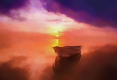 Rowboat Digital Art - Boat At Sunset Soft by Roy Pedersen