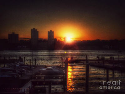 Photograph - Boat Basin Gold - Sunset In New York by Miriam Danar