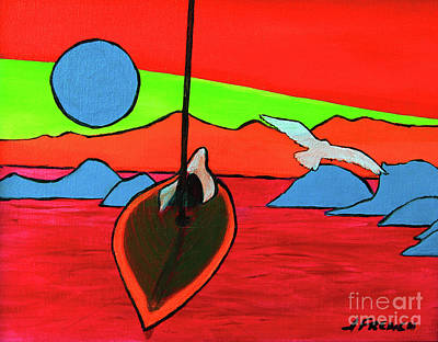 Painting - Boat, Bird And Moon by Jeanette French