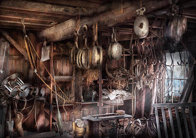 Boat - Block And Tackle Shop  Art Print by Mike Savad