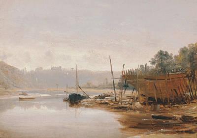 Boat Building Near Dinan, Brittany Art Print