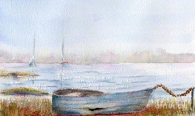 A Hot Summer Day Painting - Boat By A Lake. by Kim Hamilton