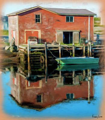 Digital Art - Boat By The Wharf by Ken Morris