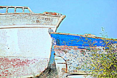 Photograph - Old Boats Hugging And Kissing Forever  by Hilde Widerberg