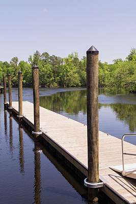 Photograph - Boat Dock And Pilings On The Waccamaw River At Conway by MM Anderson