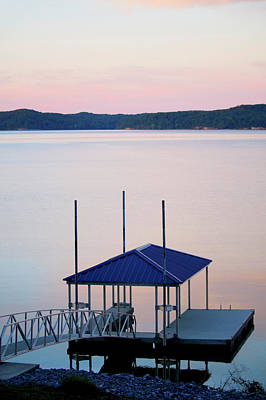 Photograph - Boat Dock At Sunset by Art Block Collections
