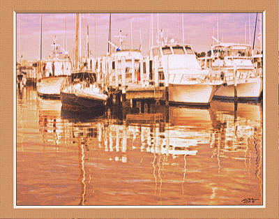 Boat Dock At Sunset3 Art Print by John Breen