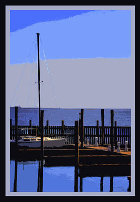 Boat  Dock  In  Blue Art Print by Linwood Branham
