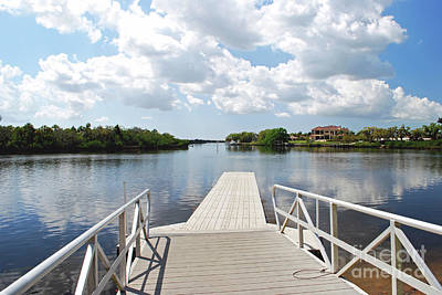 Photograph - Boat Dock On Lake by Gary Wonning