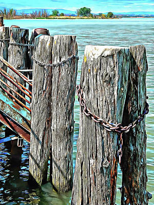 Photograph - Boat Dock Pilings At Sant Arcangelo Umbria by Dorothy Berry-Lound