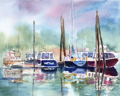 Painting - Boat Harbor In Fog by Carlin Blahnik CarlinArtWatercolor
