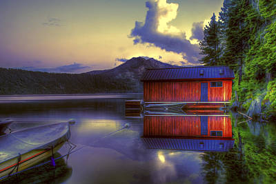 Photograph - Red Boat House by Maria Coulson