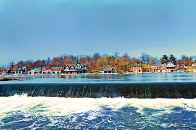Boathouse Row Digital Art - Boat House Row From Fairmount Dam by Bill Cannon
