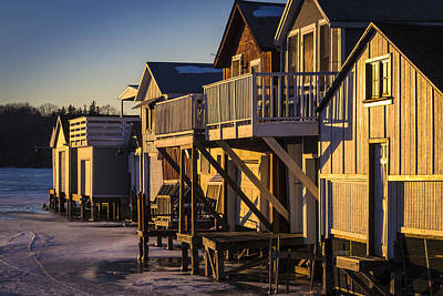 Photograph - Boat Houses In Winter by Joann Long