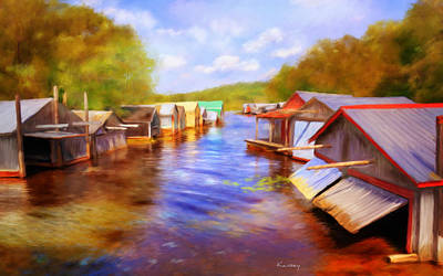 Painting - Boat Houses by Johanne Dauphinais