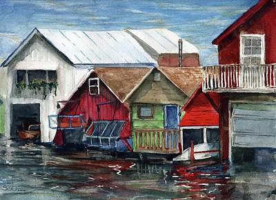 Donny Painting - Boat Houses On The Lake by Don Seib