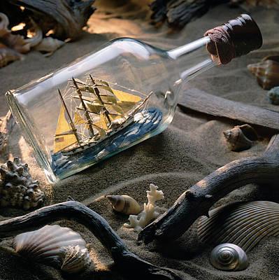 Sand Bottles Photograph - Boat In A Bottle by Bob Nardi