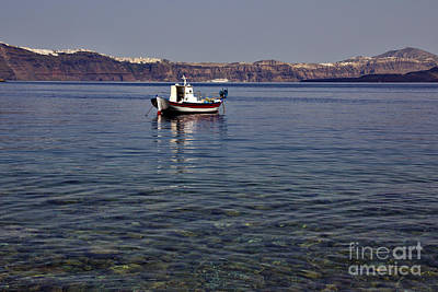 Photograph - Boat In A Caldera by Jeremy Hayden