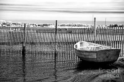 Boat In Bay Infrared Art Print by John Rizzuto