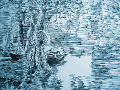 Boat In Blue Print by Robbi  Musser