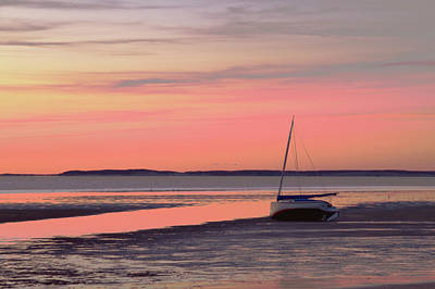 Boat In Cape Cod Bay At Sunrise Art Print
