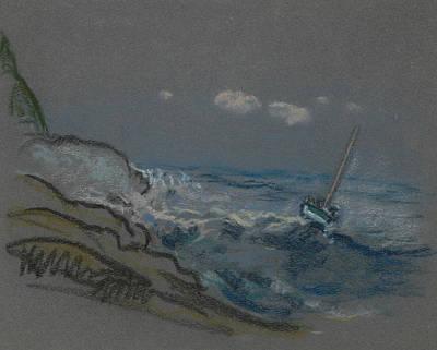 Pastel - Boat In Distress by Arthur Bowen Davies