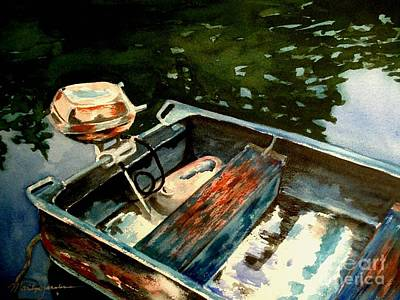 Boat In Fog 2 Art Print by Marilyn Jacobson