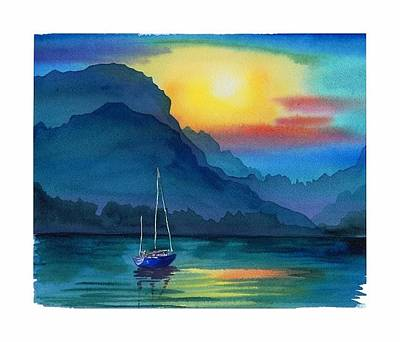 Painting - Boat In Sunset by Elena Mahoney