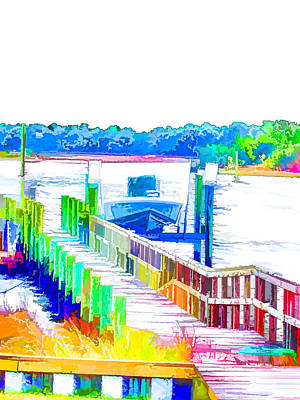 Day Painting - Boat In Swansboro 8 by Lanjee Chee