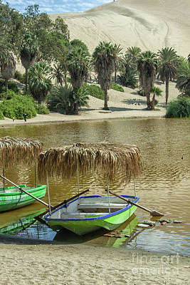 Photograph - Boat In The Huacachina Lagoon In Peru by Patricia Hofmeester