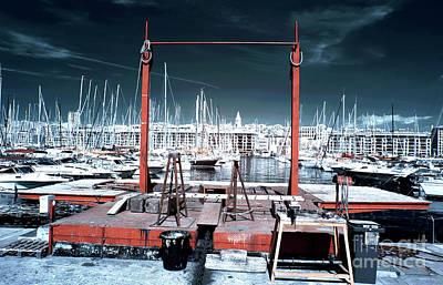 Boat Lift In The Port Art Print by John Rizzuto