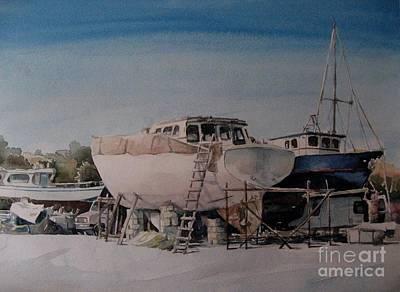 Marsaxlokk Painting - Boat Maintinence In Marsaxlokk by Diane Agius